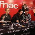 Exclusif - Gustav Schäfer, Tom et Bill Kaulitz, Georg Listing - Le groupe Tokio Hotel en dédicace à la Fnac Saint-Lazare à Paris. Les fans attendent depuis la veille et certains sont restés la nuit dehors pour rester dans la file d'attente, plus de 600 fans ...Le 9 octobre 2014