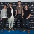 "Georg Listing, Tom Kaulitz, Bill Kaulitz, Gustav Schäfer - Le Groupe ""Tokio Hotel"" fait la promotion de son nouvel album ""Kings of Suburbia"" à Berlin. Le 2 octobre 2014"