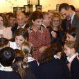 Le roi Felipe VI et la reine Letizia d'Espagne inauguraient avec le président argentin Mauricio Macri et son épouse Juliana Awada le Salon d'art contemporain ARCOMadrid le 23 février 2017.
