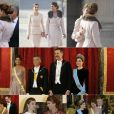 La rencontre de la reine Letizia d'Espagne et de Juliana Awada, épouse du président argentin Mauricio Macri, a été l'un des aspects forts de la visite d'Etat présidentielle à Madrid les 22 et 23 février 2017. Photomontage Purepeople.