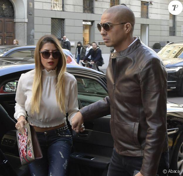 David Trezeguet et Beatriz Villalba arrivent pour le défilé Trussardi à la Fashion Week de Milan le 26 février 2017. © Mario Cartelli/ LaPresse/ABACAPRESS.COM