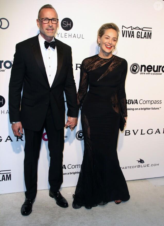 Douglas Truesdale, Sharon Stone- Soirée Elton John AIDS Foundation 2017 lors de la 89e cérémonie des Oscars à West Hollywood le 26 février 2017.