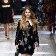 """Thylane Blondeau au défilé de mode prêt-à-porter automne-hiver 2017/2018 """"Dolce & Gabbana"""" à Milan, le 26 février 2017."""