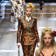 """Sofia Richieau défilé de mode prêt-à-porter automne-hiver 2017/2018 """"Dolce & Gabbana"""" à Milan, le 26 février 2017."""