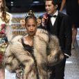 """Marjorie Harveyau défilé de mode prêt-à-porter automne-hiver 2017/2018 """"Dolce & Gabbana"""" à Milan, le 26 février 2017."""