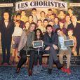 Exclusif - Frédéric Diefenthal, sa compagne et son fils Gabriel à la générale de la comédie musicale Les Choristes au théâtre des Folies Bergère à Paris, France, le 2 mars 2017.