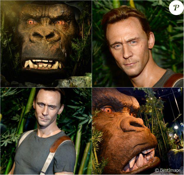 """Inauguration de la statue de cire de Tom Hiddleston et de King Kong dans """"Kong : Skull Island Experience"""" au musée Madame Tussauds à New York. Le 7 mars 2017"""