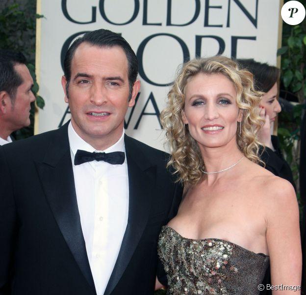 Jean Dujardin et Alexandra Lamy lors des Golden Globes 2012