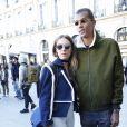 """Stromae, se laisse pousser les cheveux, et sa femme Coralie Barbier - People arrivant au défilé de mode """"Louis Vuitton"""", collection prêt-à-porter Printemps-Eté 2017 à Paris, le 5 octobre 2016."""