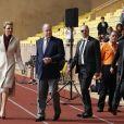 La princesse Charlène de Monaco et son mari le prince Albert II de Monaco - 7ème édition du tournoi de rugby Sainte-Dévote au Stade Louis II à Monaco, le 18 mars 2017. © Claudia Albuquerque/Bestimage
