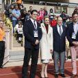Andrew Sheridan, la princesse Charlène de Monaco et son mari le prince Albert II de Monaco, Esteban Lozada - 7ème édition du tournoi de rugby Sainte-Dévote au Stade Louis II à Monaco, le 18 mars 2017. © Claudia Albuquerque/Bestimage