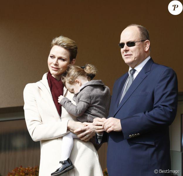 La princesse Charlène de Monaco, son mari le prince Albert II de Monaco et leur fille la princesse Gabriella de Monaco - 7ème édition du tournoi de rugby Sainte-Dévote au Stade Louis II à Monaco, le 18 mars 2017. © Claudia Albuquerque/Bestimage