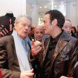 """Exclusif - Alain Delon et son fils Anthony Delon -Lancement de la marque de vêtements de cuir """"Anthony Delon 1985"""" chez Montaigne Market à Paris. Le 7 mars 2017 © Philippe Doignon / Bestimage"""