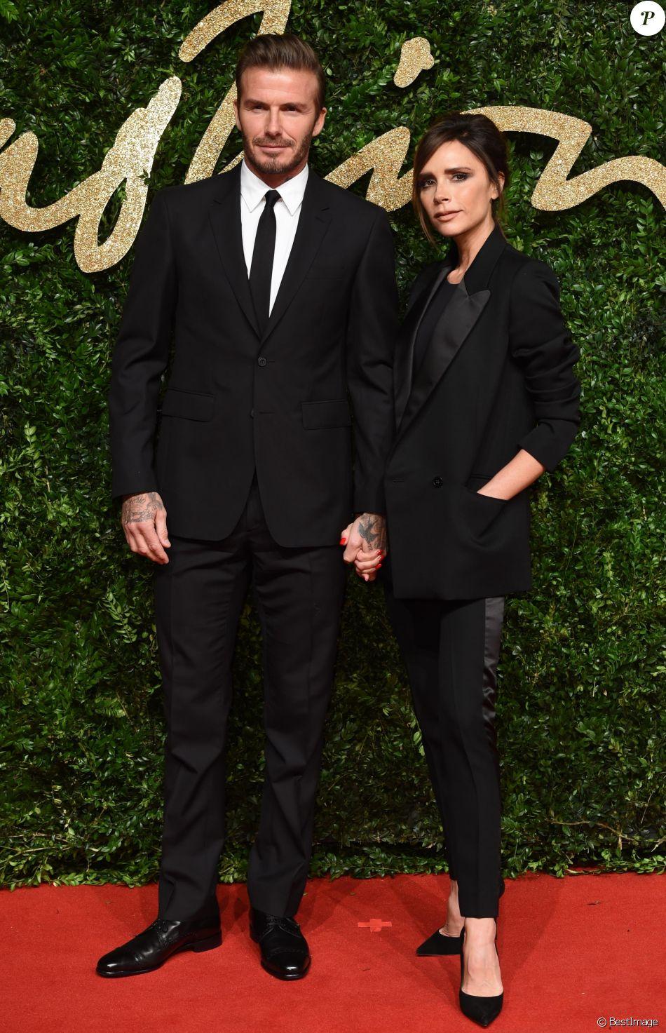 david beckham et sa femme victoria beckham au british fashion awards 2015 londres le 23. Black Bedroom Furniture Sets. Home Design Ideas
