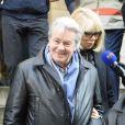 Alain Delon et Mireille Darc - Hommage à Georges Lautner en l'église Saint-Roch à Paris. Le 5 decembre 2013