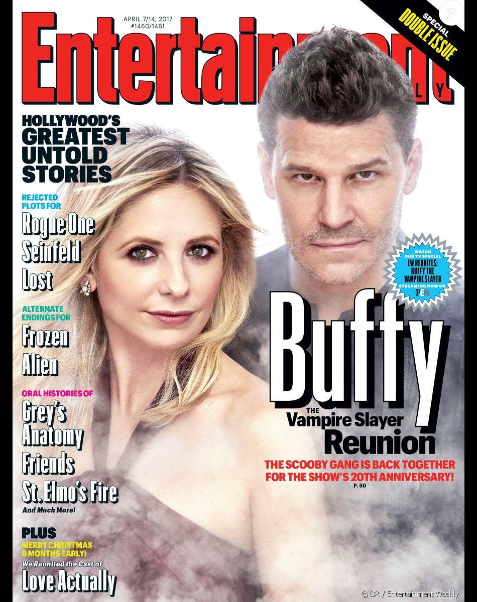 """Sarah Michelle Gellar et David Boreanaz réunis pour les 20 ans de """"Buffy contre les vampires"""" (mars 2017)."""