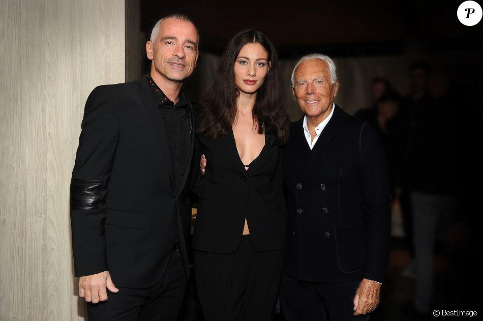 Giorgio Armani, Eros Ramazzotti et son épouse Marica Pellegrinelli - Ouverture de la nouvelle boutique Armani/Casa en marge du Salon International du Meuble de Milan, le 4 avril 2017.