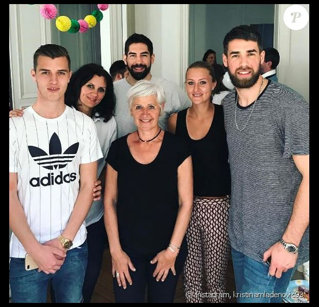 La joueuse de tennis et amie des frères Karabatic Kristina Mladenovic invitée au premier anniversaire d'Alek, le 9 avril 2017.