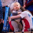 Radmila mère de Nikola Karabatic, sa compagne Géraldine Pillet et leur fils Alek lors du match de demi-finale du 25th mondial de handball, France - Slovénie à l'AccorHotels Arena à Paris, , le 26 janvier 2017.