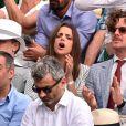 Semi-Exclusif - Macarena Gomez et son mari Aldo Comas assistent à la victoire de N. Djokovic sur G. Simon lors du Monte Carlo Rolex Masters 2017 sur le court Rainier III du Monte Carlo Country Club à Roquebrune-Cap-Martin, le 18 avril 2017.