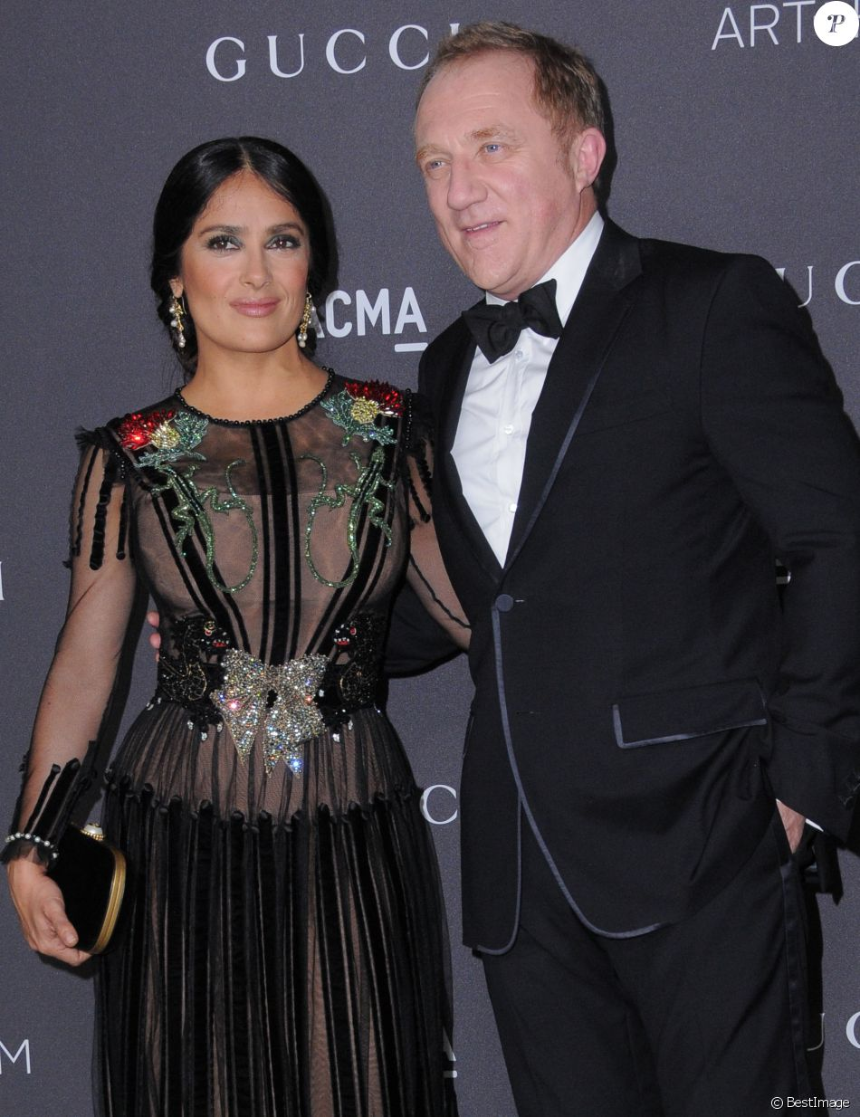 Salma Hayek et son mari Francois-Henri Pinault au gala LACMA Art + Film à Los Angeles, le 29 octobre 2016