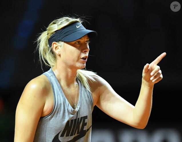 Maria Sharapova à l'entraînement à Stuttgart le 26 avril 2017.