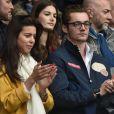 Louis Sarkozy et une amie - Célébrités dans les tribunes du parc des princes lors du match de football de ligue 1 PSG-Bastia le 6 mai 2017.