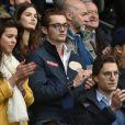 Louis Sarkozy et une amie, Jean Sarkozy et Pierre Sarkozy - Célébrités dans les tribunes du parc des princes lors du match de football de ligue 1 PSG-Bastia le 6 mai 2017.