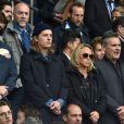 Louis Sarkozy, Jean Sarkozy et son fils Solal, Pierre Sarkozy, Cécile de Ménibus avec son compagnon Thierry - Célébrités dans les tribunes du parc des princes lors du match de football de Ligue 1 PSG-Bastia le 6 mai 2017.