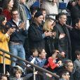 Louis Sarkozy avec une amie, Jean Sarkozy et son fils Solal, Pierre Sarkozy, Cécile de Ménibus avec son compagnon Thierry - Célébrités dans les tribunes du parc des princes lors du match de football de ligue 1 PSG-Bastia le 6 mai 2017.