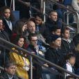 Louis Sarkozy avec une amie, Pierre Sarkozy, Jean Sarkozy et son fils Solal, Cécile de Ménibus avec son compagnon Thierry - Célébrités dans les tribunes du parc des princes lors du match de football de ligue 1 PSG-Bastia le 6 mai 2017.