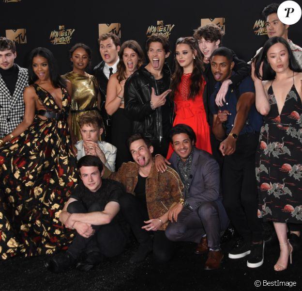 Toute l'équipe de '13 Reasons Why' à la conférence de presse des MTV Movie And TV Awards 2017 au The Shrine Auditorium à Los Angeles, le 7 mai 2017
