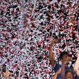 Les joueurs de l'AS Monaco ont fêté leur titre de champions de France de Ligue 1 à l'issue du match contre l'AS Saint-Etienne (2-0) le 17 mai 2017 au Stade Louis-II. © Bruno Bebert/Bestimage