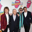 """Mick Jagger, Lorne Michaels, Keith Richards et Jimmy Fallon - Ouverture de l'exposition """"Rolling Stones Exhibitionism"""" à l'Industria Superstudio à New York le 15 novembre 2016."""