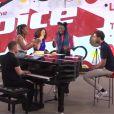 The Sugazz lors des répétitions avec Mika, avant leur interprétation en live de  Papaoutai , de Stromae, dans  The Voice 6 .