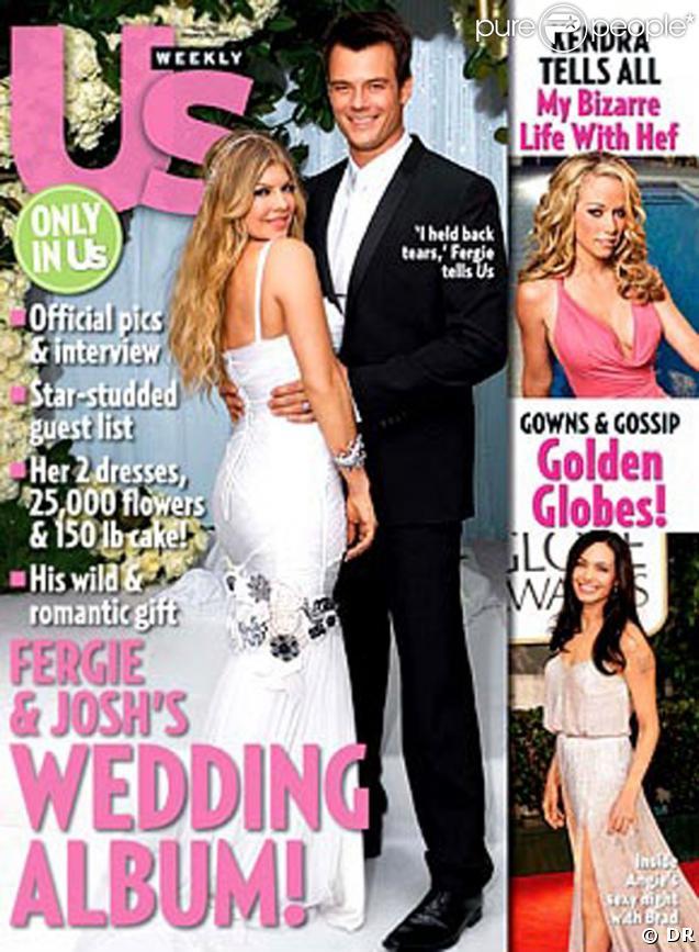 Josh Duhamel et Fergie le jour de leur mariage en couverture du magazine US