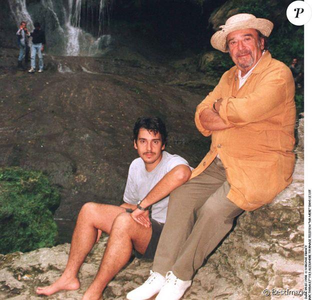 Jean-Marc Thibault et son fils Alexandre sur le tournage du téléfilm Ma mère en 1998