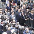 Francois Hollande arrive au QG du parti socialiste rue de Solférino à Paris après la passation de pouvoir le 14 mai 2017. © Marc Ausset-Lacroix / Bestimage