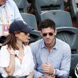 Gaspard Ulliel et sa compagne Gaëlle Pietri dans les tribunes des Internationaux de Tennis de Roland Garros à Paris le 7 juin 2017 © Cyril Moreau-Dominique Jacovides/Bestimage