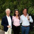 Jean-Claude Narcy, Anne-Claire Coudray et son compagnon Nicolas Vix au village des Internationaux de Tennis de Roland Garros à Paris le 8 juin 2017 © Cyril Moreau-Dominique Jacovides/Bestimage