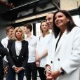 Emmanuel Macron et sa femme Brigitte Macron (Trogneux), Xavier Niel et sa compagne Delphine Arnault, Anne Hidalgo inaugurent le plus grand incubateur de start-up au monde, Station F à Paris le 29 juin 2017. © Sébastien Valiela/Bestimage