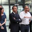 Roxanne Varza enceinte (directrice de Station F), Emmanuel Macron, Xavier Niel, Mounir Mahjoubi (Secrétaire d'État auprès du Premier ministre, chargé du Numérique inaugurent le plus grand incubateur de start-up au monde, Station F à Paris le 29 juin 2017. © Sébastien Valiela/Bestimage
