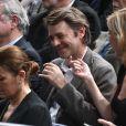François Baroin et sa compagne Michèle Laroque assistant à la demi-finale opposant Novak Djokovic à Stan Wawrinka lors du tournoi BNP Paribas Masters 2015 à l'AccorHotels Arena à Paris, le 7 novembre 2015. © Giancarlo Gorassini / Bestimage