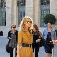 Semi exclusif - Céline Dion quitte le défilé Dior pour se rendre à un shooting photo place Vendôme à Paris le 3 juillet 2017.