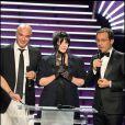 Isabelle Adjani et Jean-Luc Delarue à la soirée des Globes de Cristal. 02/02/09