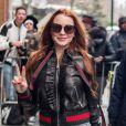 Lindsay Lohan habillée en Gucci de la tête aux pieds à la sortie de l'émission 'The View' à New York, le 13 février 2017.