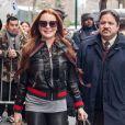 Lindsay Lohan habillée en Gucci de la tête aux pieds à la sortie de l'émission 'The View' à New York, le 13 février 2017
