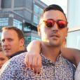 """Ali Lohan (Aliana Lohan) entre son frère Michael Lohan Jr. et sa mère Dina Lohan - Soirée """"Ranbeeri Denim"""" (marque dont Ali Lohan est l'égérie) au rooftop Jimmy du James Hotel à New York, le 4 août 2015."""