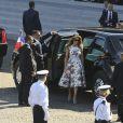 Melania Trump lors du défilé du 14 juillet (fête nationale), place de la Concorde, à Paris, le 14 juillet 2017, avec comme invité d'honneur le président des Etats-Unis. © Pierre Pérusseau/Bestimage