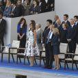 Melania Trump, le président des Etats-Unis Donald Trump, Brigitte Macron (Trogneux), Gérard Larcher et les membres du gouvernement lors du défilé du 14 juillet (fête nationale), place de la Concorde, à Paris, le 14 juillet 2017, avec comme invité d'honneur le président des Etats-Unis. © Pierre Pérusseau/Bestimage